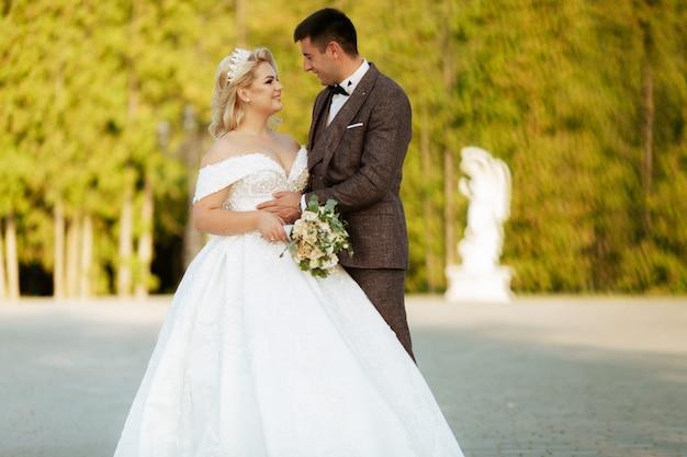 Braut und bräutigam im wald auf ihrer hochzeit, fotosession.