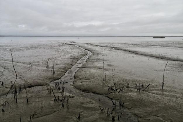 Breiter schuss wattenmeer mit einem wolkigen grauen himmel