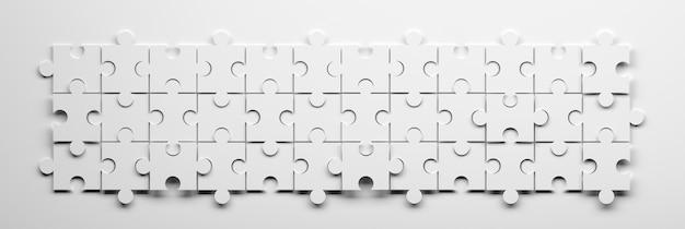 Breites banner mit drei reihen von puzzleteilen in schwarz-weißer farbe. 3d-darstellung.