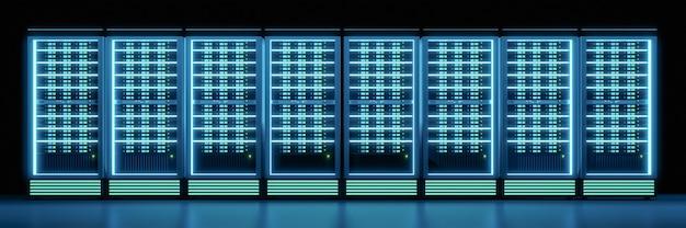 Breites bild der server-container-reihe im dunklen raum mit leuchteffekt. 3d-darstellungs-rendering.