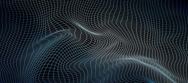 Breites futuristisches drahtgitter auf schwarzem hintergrund