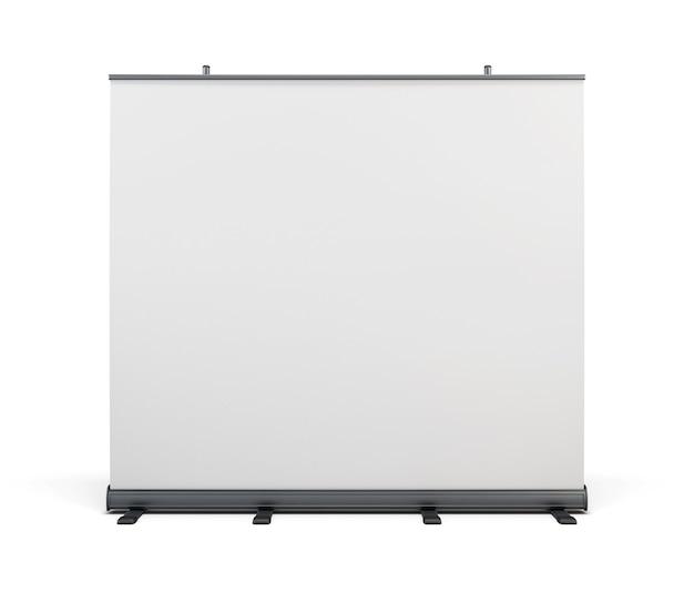 Breites tragbares werbebanner und roll-up isoliert auf weiß. 3d-rendering.
