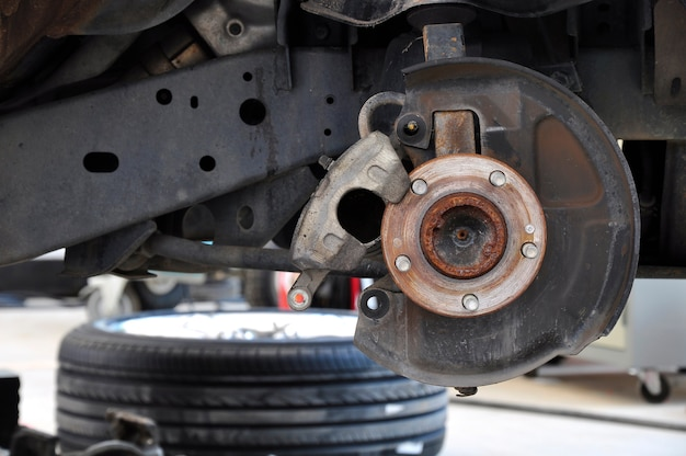 Bremsscheibe und detail der radbaugruppe