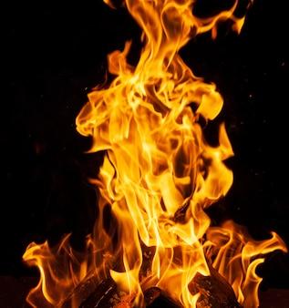 Brennende holzscheite und große orange flamme