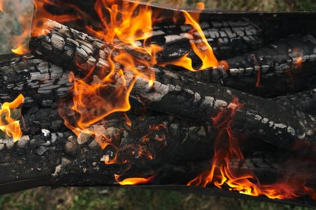 Brennendes brennholz im feuer im freien