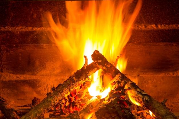 Brennendes brennholz im schornstein mit tannenzapfen