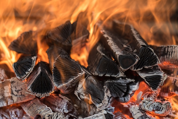 Brennendes feuerholz