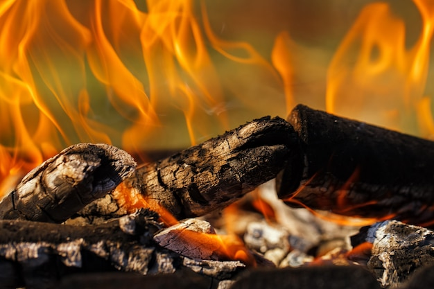 Brennholz auf dem grill brennt helles feuer