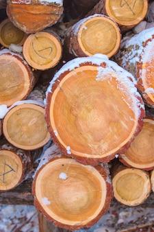 Brennholz gestapelt im schnittholz, bauholz, brennholz