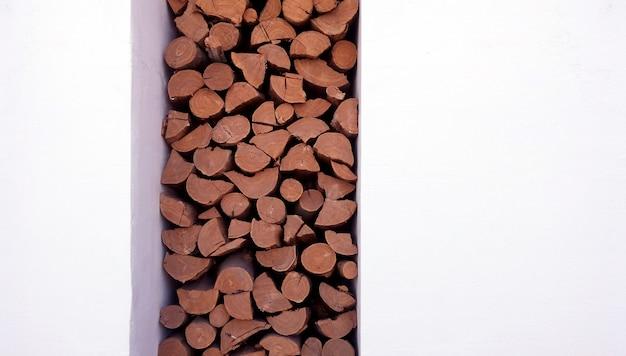 Brennholz holzblock wanddekoration