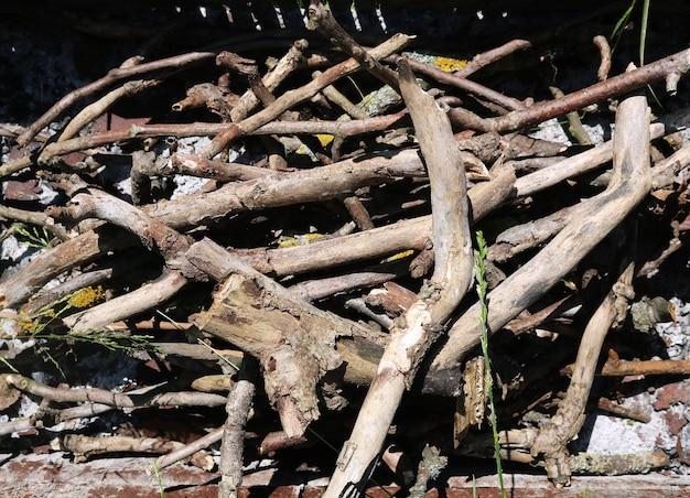 Brennholz im stahlgrill auf gras