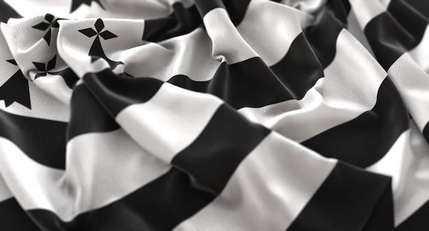 Bretagne flagge gekräuselt winken makro nahaufnahme schuss