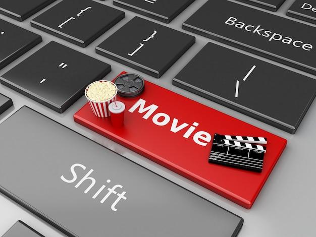 Brett der klöppel 3d mit filmrolle und popcorn auf computertastatur.