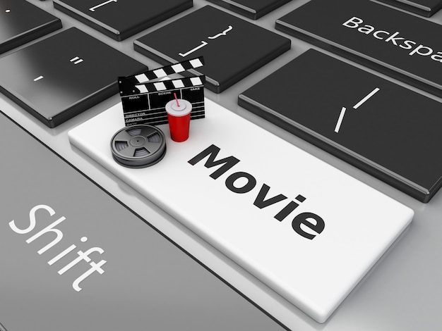 Brett des klipps 3d mit filmrolle auf computertastatur.