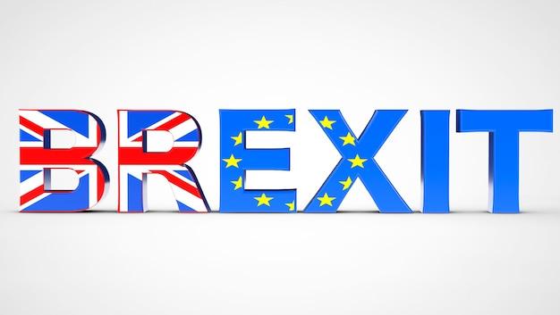 Brexit referendum concept sign als uk- und eu-flaggen auf weißem hintergrund. 3d-rendering