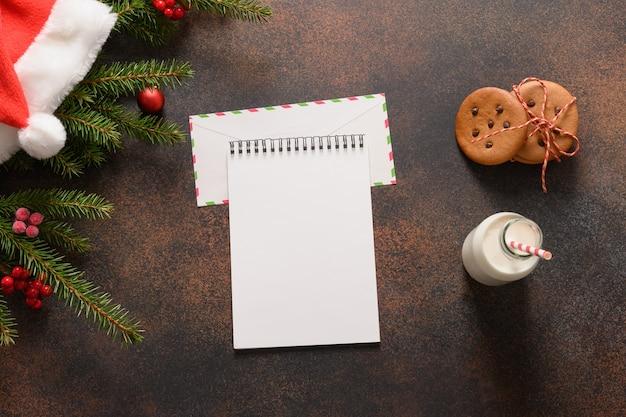 Brief an den weihnachtsmann, milch, hausgemachte kekse