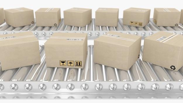 Briefkästen, die sich auf der 3d-illustration des förderers bewegen