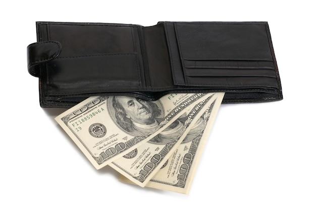 Brieftasche mit gelddollar isoliert