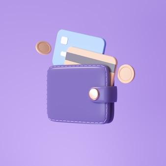Brieftasche und kreditkarte, schwebende münzen auf violettem hintergrund. geldsparendes, bargeldloses gesellschaftskonzept. 3d-render-darstellung