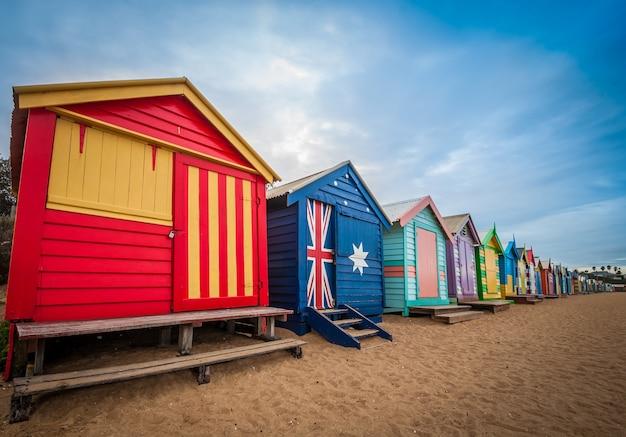 Brighton-strand, der kästen in melbourne, australien badet.