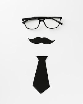 Brille mit schnurrbart und krawatte