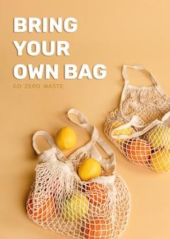 Bringen sie ihre eigene tasche mit und wechseln sie zu einem grünen lebensstil