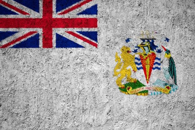 Britische antarktis-gebietmarkierungsfahne gemalt auf grunge wand