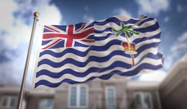 Britische indische ozean-territorium-flagge 3d-rendering auf blauem himmel-gebäude-hintergrund
