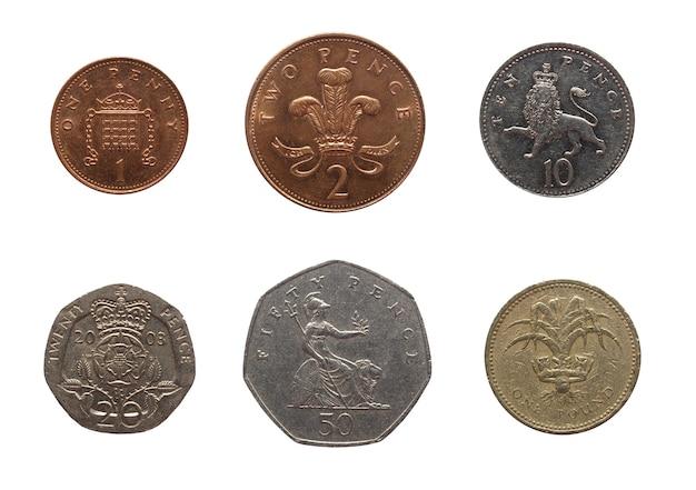 Britische pfund-münzen