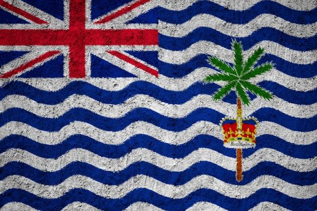 Britische territoriumsflagge des indischen ozeans gemalt auf schmutzwand