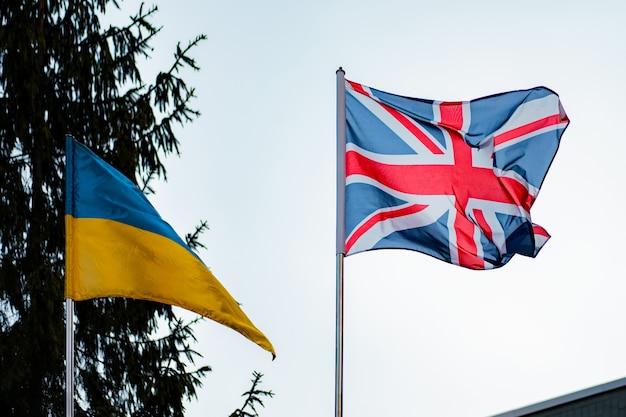 Britische und ukrainische flaggen vor dem hintergrund des blauen himmels und der fichte. natur. beziehung. diplomatie. politik. freundschaft. vereinigtes königreich. ukraine. unternehmen. zustimmung