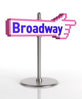 Broadway-zeichen. digital erzeugtes bild lokalisiert auf weißem hintergrund. 3d-rendering