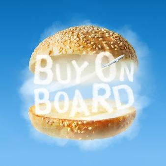 Brötchenburger mit natürlichen wolken und text kaufen sie an bord auf der blauen himmelsoberfläche. concept food service an bord des flugzeugs