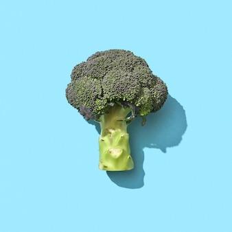 Brokkoli ist ein gesundes vitamingemüse, das auf blauem hintergrund mit kopierraum und einem muster aus den schatten präsentiert wird. vitamin-diät-lebensmittel. ansicht von oben