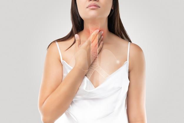 Bronchitis symptome illustration von bronchial oder luftröhre auf dem körper einer frau konzept mit gesundheitswesen und medizin