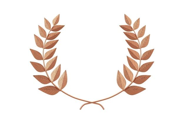 Bronze lorbeerkranz winner award auf weißem hintergrund. 3d-rendering