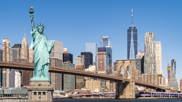 Brooklyn bridge und freiheitsstatue