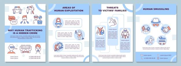 Broschürenvorlage zu menschenhandel, schmuggel und ausbeutung. flyer, broschüre, broschürendruck, cover-design mit linearen symbolen. vektorlayouts für präsentationen, geschäftsberichte, anzeigenseiten