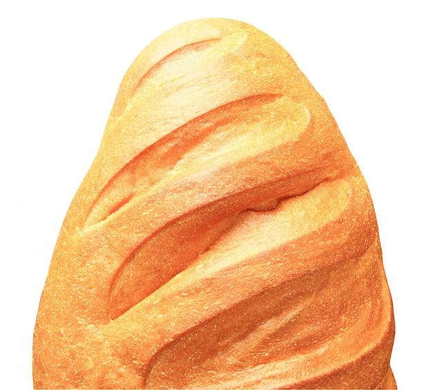 Brotweiß von der halben draufsicht des weizenmehls lokalisiert auf weißem hintergrund mit beschneidungspfad.