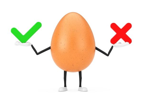 Brown chicken egg person character maskottchen mit rotem kreuz und grünem häkchen, bestätigen oder verweigern, ja oder nein symbolzeichen auf weißem hintergrund. 3d-rendering