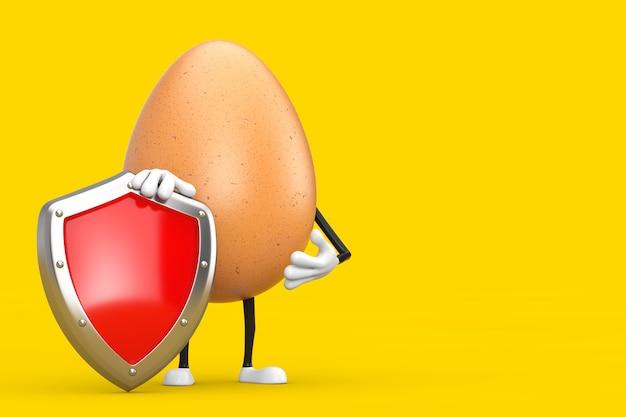 Brown chicken egg person character maskottchen mit rotem metallschutzschild auf gelbem hintergrund. 3d-rendering