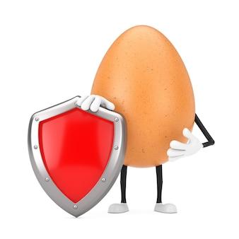 Brown chicken egg person character maskottchen mit rotem metallschutzschild auf weißem hintergrund. 3d-rendering