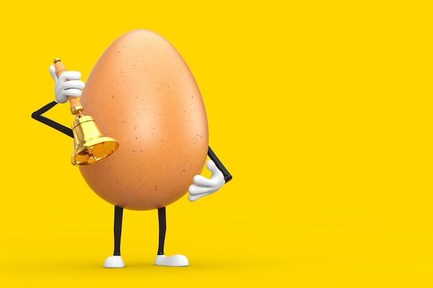 Brown chicken egg person character maskottchen mit vintage golden school bell auf gelbem grund. 3d-rendering