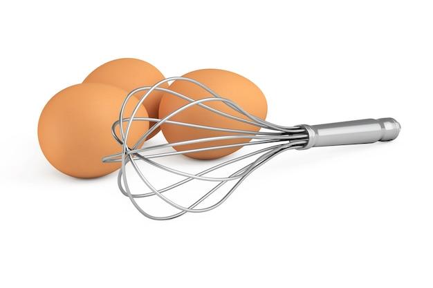 Brown eggs in der nähe von kitchen wire whisk eggs beater auf weißem hintergrund. 3d-rendering