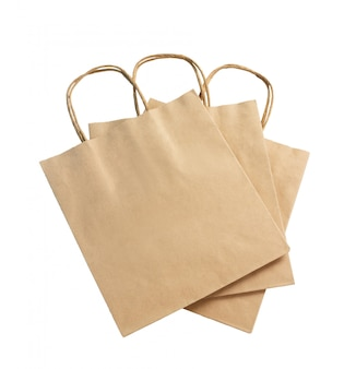 Brown-farbrecyclingpapiertüte lokalisiert auf weißem, recyclebarem konzept