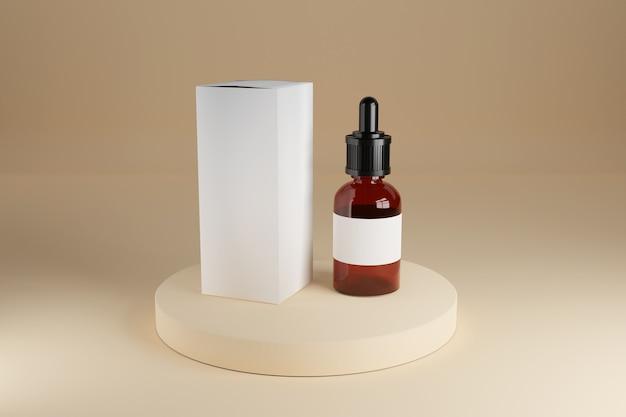 Brown-glaskosmetikflasche mit leerem weißem kasten auf der bühne. 3d-rendering.
