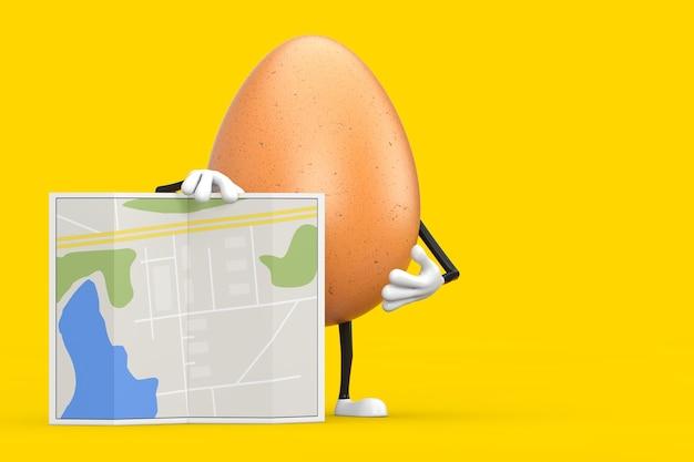 Brown-huhn-ei-person-charakter-maskottchen mit abstrakter stadtplan-karte auf gelbem hintergrund. 3d-rendering