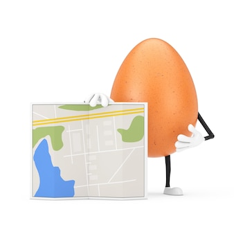 Brown-huhn-ei-person-charakter-maskottchen mit abstrakter stadtplan-karte auf weißem hintergrund. 3d-rendering