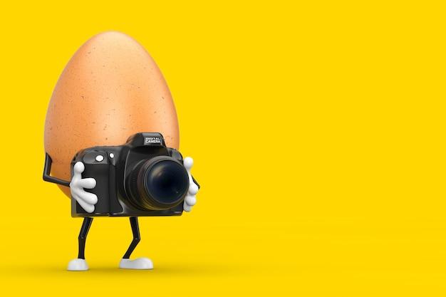 Brown-huhn-ei-person-charakter-maskottchen mit moderner digitaler fotokamera auf einem gelben hintergrund. 3d-rendering