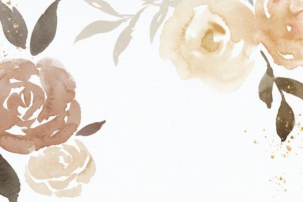 Brown-roserahmenhintergrundfrühlingsaquarellillustration